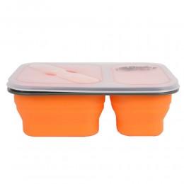 Контейнер силиконовый на 2 отсека Tramp 900ml с ловилкой orange